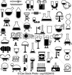 Conjunto de iconos relacionados con el laboratorio.