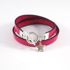 Bracelet cuir pour femme fait d'une lanière de cuir fushia de 10mm de large. Le bracelet cuir s'enroule 2 fois autour du poignet et est agrémenté d'une breloque étoile Le fe - 8936113 http://amzn.to/2t51PPS