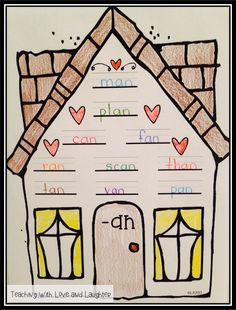 Word Family Houses: FREE -an word family house!