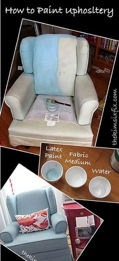 How to paint upholstery.. there are a lot of methods to do this, but using fabric medium will give you the softest final result.