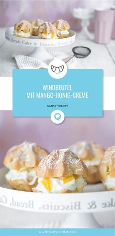 Windbeutel mit Mango-Honig-Creme - hier gehts zum Rezept! #mango #honig #windbeutel #backen #brandteig #kleingebäck #brandteigkrapferl #rezept #rezepte #lecker Chocolate Chip Cookies, Chocolate Desserts, Simply Yummy, Muffins, Mango, Nutella, Biscuits, Bakery, Food And Drink