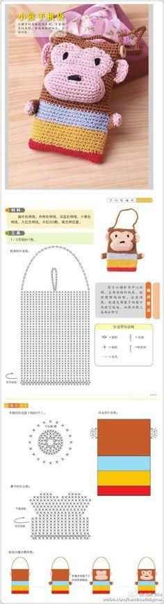 Crochet Mandala Pattern, Crotchet Patterns, Crochet Diagram, Crochet Chart, Crochet Stitches, Crochet Coin Purse, Crochet Pouch, Crochet Purses, Cute Crochet