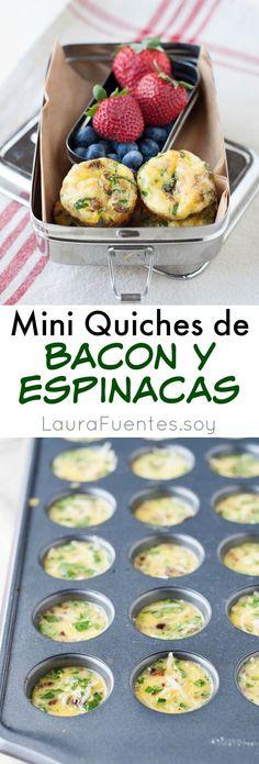 Quiches de Espinacas y Bacon- Unalmuerzo estupendo y crujienten. Sin grano y sin gluten, para todos y para llevar!