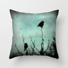 On Top of the World Throw Pillow Home Decor Birds blue by RDelean