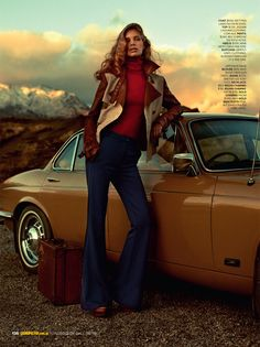 I'll Take You There – Lise Olsen takes a road trip for the July issue of Cosmopolitan Australia, lensed by Steven Chee. Fashion editor Charlotte Stockdale selects seventies inspired styles featuring flared denim, knitwear and lingerie bottoms.