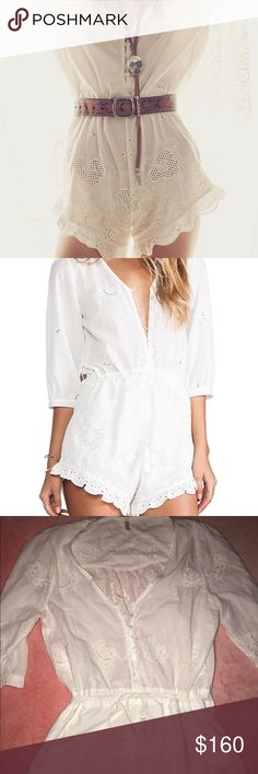 Spell & the gypsy White romper Spell & the gypsy collective Indian Summer Romper. New w/o tags!! Beautiful just doesn't fit quite right! Size Large. Could do less on 🅿️🅿️ or Ⓜ️!!!! Spell & The Gypsy Collective Shorts