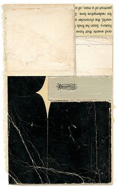 "melinda tidwell , Tuxedo  4.5 x 7.0"" book parts, glue, on paper."