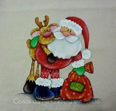 pano de copa com pintura country para o natal papai noel e rena