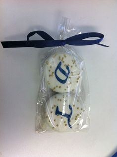 monogram chocolate dipped oreo wedding favors - navy and gold | Flickr - Photo Sharing!