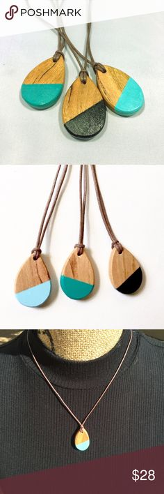 """Hand Carved Color Blocked Pendant Necklaces Made by creative Adornments 18"""" Brown Necklace cord with bead and loop closure. Hand carved wooden pendants made from maple Colors: Black, Teal and Baby Blue Painted portion has a glossy top coat Creative Adornment Jewelry Necklaces"""