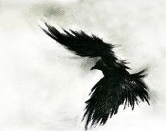 Original Charcoal Crow Drawing Flying raven Large Gothic Art 27''x40''