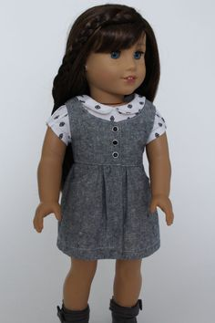 Campus casual:gray school jumper by LollyDollyDesigns on Etsy. Made from the Surfrider Sundress and Romper pattern, available at http://www.pixiefaire.com/products/surfrider-sundress-and-romper-18-doll-clothes. #pixiefaire #surfridersundressandromper