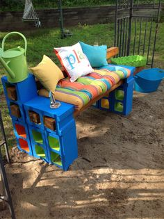 Colorful cinder block bench
