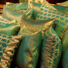 Soft and comfortable sea green color sari pillows. Suitable on any couch or chair. Indian Fabric, Sari Fabric, Velvet Curtains, Velvet Pillows, Sea Green Color, Bolster Cushions, Pillow Room, Bedroom Decor, Bedroom Ideas