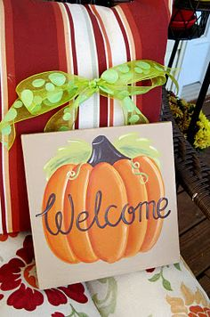 12 canvas painting ideas that you can easily make yourself - DIY ideas for canvas pictures that you can easily design yourselfDIY Fall Family Pumpkin Patch Painted CanvasDIY Fall Family Pumpkin Patch Painted CanvasFall Fall Canvas Painting, Autumn Painting, Autumn Art, Pumpkin Painting, Fall Paintings, Tole Painting, Autumn Ideas, Acrylic Paintings, Fall Crafts