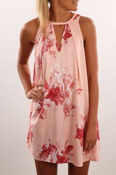 Round collar loose print dress