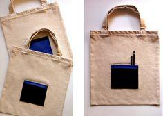 Torba na zakupy NATURAL BAGS - BLACK z kieszenią w HANAKO na DaWanda.com