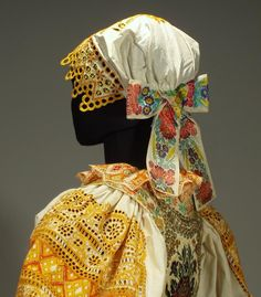 Antique Complete Slovak Folk Costume Embroidered Blouse Apron Bonnet Skirt Kroj | eBay