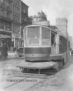 Screened in trolley car on Broadway. New York City.