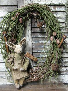 Olde Spring Wreath~ By Folk Artist Sue Corlett. Follow me on facebook for Sunday update information!