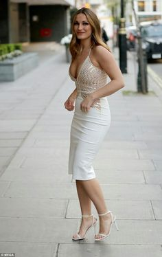 c96c7dda706 Sam Faiers X Rare London Spring 2017 White and Nude Sequin and Lace Plunge  Midi Dress.