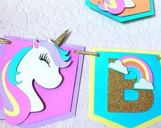 Unicorn Banner, Happy Birthday Unicorn and Rainbow Banner