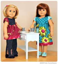 american doll patterns to purchase and has a lot of ideas and a free pdf A-line dress pattern