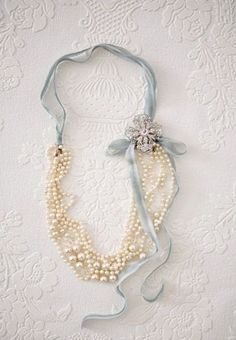 Pearl Necklace | Frozen Wedding Inspiration in Frost Blue, White, Another Great idea for a Winter Wedding!