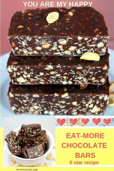 EAT-MORE is the best homemade bar. THE BEST! You will love this recipe. Peanuts and chocolate and more.after all it is called EAT-MORE bars. Ships fresh and fast to all your family members…in your house or around the world. Candy Recipes, Sweet Recipes, Baking Recipes, Cookie Recipes, Dessert Recipes, Breakfast Recipes, Homemade Candies, Homemade Bar, Homemade Chocolate Bars