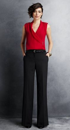 Bold Blouse + Suit Pants. Pairing a bold color with a neutral bottom will make you stand out without sacrificing professionalism. To look even more authoritative, choose a power color like this red blouse. Layer a black blazer for more formal presentations or interviews. ------- For more business, communication, strategic branding, and public speaking tips, visit www.HugSpeak.com