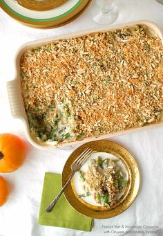 Haricot Vert and Mushroom Casserole with Gruyere Cheese and Lardon. Not your Mama's green bean casserole! Great for Thanksgiving - BoulderLocavore.com