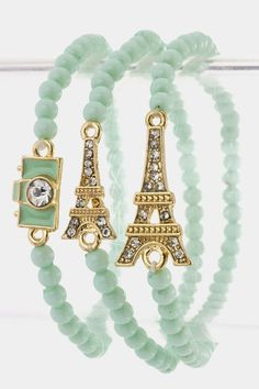 Paris Theme: Eiffel Tower Photography Charmed Bracelet Set (Mint)