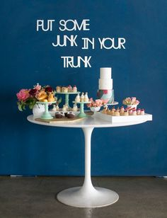junk in your trunk dessert table from retro wedding inspiration with Amorology Events