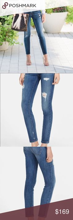 """Current Elliot Jeans Current Elliot 'The Stiletto' Destroyed Skinny Jeans  Low rise. Snug fit will stretch with wear. A faded wash and expert distressing add lived-in comfort to a pair of ultra-skinny jeans in an on-trend ankle length. 28"""" inseam; 10"""" leg opening; 8 1/2"""" front rise; 13 1/2"""" back rise (size 29). Zip fly with button closure. Five-pocket style. Excellent/Like New Condition Current/Elliott Jeans Skinny"""