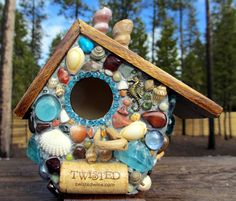 Tropical Mosaic Birdhouse with Sea Horse