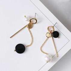 2017 Fashoin Korean Style Geometric Black Wafer Statement Earrings Simulated Pearl Asymmetry Long Earing