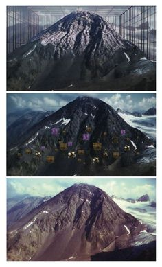 """""""Based on the findings of a conservation biologist at the University of Vienna, the video tracks the ascent of three species of white and purple flowers up an alpine mountain, which becomes steadily enclosed by a virtual greenhouse that generates ever-rising temperatures. By the end of the video, the purple flowers have reached the summit and then simply disappear, leaving only a few patches of white flowers to continue their ascent into the unknown."""" (Finis Dunaway)"""