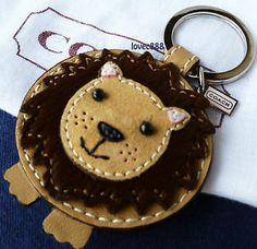 Coach Leather Haircalf Lion Key Fob Chain