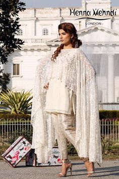Picture of Cream Net Embroidered Cape Outfit