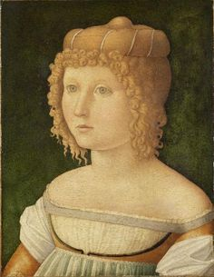 "Renaissance - hairtaping around the crown of the head of false hair. I call this ""loaf hair"" Late 1400s Italian"