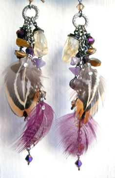 Feather Duster Charm Dangle Earrings, Stone and Crystal Cluster Long Earrings -- Forest Enchantment
