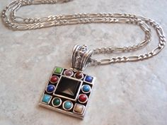 Square Onyx Necklace Multi Stone Multi Color by cutterstone, $118.00