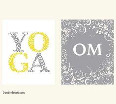 Yoga Gift Om Yoga Print Set of 2 Yoga Art от HappyHomeDecorPrints