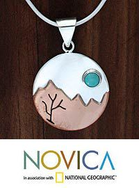 Turquoise pendant necklace, 'Taxco at Dusk' at The Hunger Site
