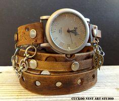 Wrap Watch, Womens leather watch, Distressed Bracelet Watch, Wrist Watch, Brown leather watch, Leather bracelet