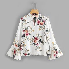 Women's Floral Keyhole Flare Sleeve Blouse. Gender: Women Sleeve Length(cm): Full Sleeve Style: Flare Sleeve Material: Polyester