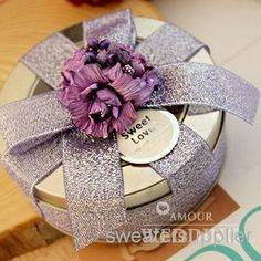 new style flower light purple avec ruban bow tin plate bonbons boîtes rondes mariage porte de boîtes de faveur parti