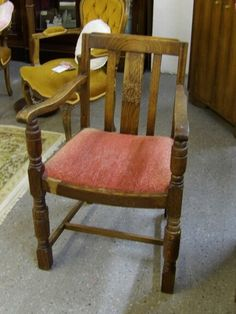 Solid Oak Carver Dining Chair (Reupholstery Included) ----- Good Condition Was £25 Now £20 (PC067) Further Discounts Available Instore On Selected Items