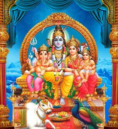 Shiva Family Images of Shiva Parvati Ganesha and Muruga together. Pictures of Hindu Gods Lord Shiva and Goddess Parvati Devi with their chi. Shiva Shakti, Shiva Parvati Images, Shiva Art, Hindu Art, Shiva Hindu, Lord Shiva Hd Wallpaper, Indiana, Wallpaper Free, Iphone Wallpaper