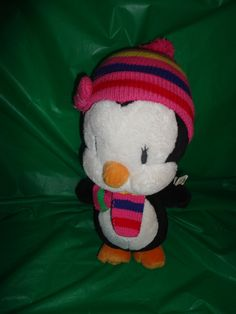 The Childrens Place Stuffed Animal Plush Penguin in Hat & Scarf find me at www.dandeepop.com